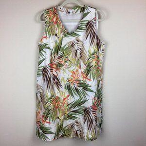 J Jill Linen Tropical Leaf Dress L